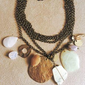 Statement Necklace Polished Stones